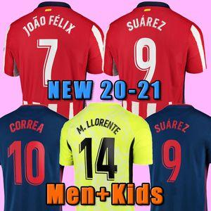 20 21 Atletico Soccer Jersey madrid 2020 2021 João Félix M. Llorente Koke Saul Godin Diego Costa Camiseta Camicia da calcio Uniformi Uomo + Kid Kit