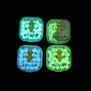 Jcvap 4mm 6mm quartzo terp pérolas bolas luminous azul brilhante verde pérola de quartzo para o quartzo banger pregos de vidro bongs plataformas