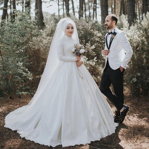 Muslim A-Line Wedding Dresses with Appliques Lace High Neck Sweep Train Long Sleeves Bridal Gowns Wedding Dress with veil