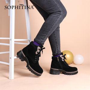 Sophina Winter Warm Casual Boots Stivaletti in lana Donna Black Genuine Pelle Piattaforma Pelle Spessore Indietro Lace Up Shoes Border Shoes PC875 201218