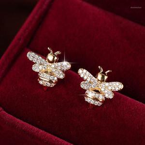 Carino Tiny Strass Ape Orecchino CZ zirconi CUSBICO Crystal Honey Bee Stud Orecchini per le donne Dichiarazione del partito Gioielli1