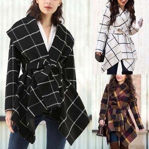 Casaco de mulheres com cinto outono e inverno moda longo casaco de lã europeu e americano womens womens womens trench casacos tamanho s-xl