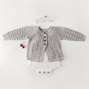Emmababy Kostenloser Versand Emmababy Baby Jungen Mädchen Herbst Kleidung Outfit Süße Langarm Strickjacke Hosenträger Romper Pyjamas Q0201