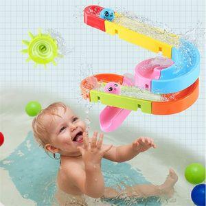QWZ New Suction Cup Orbits Track Bath Kids Bathroom Bathtub Water Ducha Juegos Piscina Cascada Juguetes LJ201019