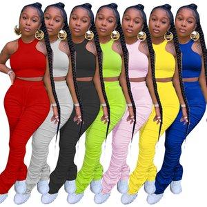Mulheres Conjunto de Duas Parções Sólidas Colete Apertado Colete Plissado Calças Longas Definir Designer Casual Terno Vest Plissado Trompete Sports Pants S-3XL
