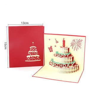 NEW arrive birthday cake 3D Pop UP Gift & Greeting 3D Blessing Cards Handmade paper silhoue & Creative Happy christmas cards DDD3244