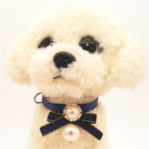Leash Buckle Leather Pet Collar Bowknot with Bright Big Pearl Necklace Collars for Little Dog Cat Pet Supplies