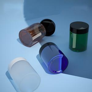 Янтарь синий матовый четкий зеленый стеклянный барабан косметические банки с черными пластиковыми крышками PP Liner 100G бальзам для губ контейнеры