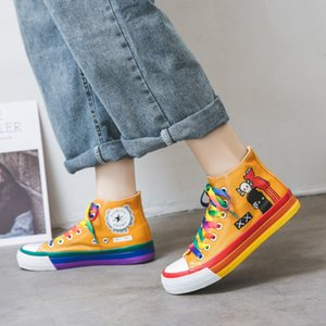 Good quality High top canvas shoes female student Korean version versatile 2021 spring new rainbow bottom cartoon casual board shoes 35-40