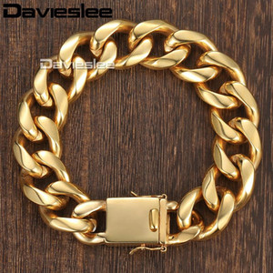 Davieslee Miami Curb Cuban Link Mens Bracelet Chain Stainless Steel Gold-color 13 18mm DHBM110