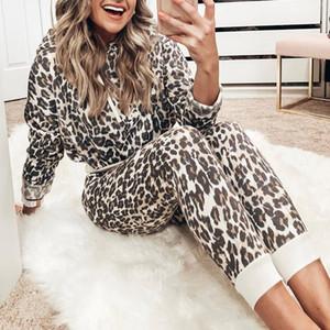 Женщины Cousssit Leopard Print Брюки Устанавливает Одежда для отдыха Одежда Лаунж Носить Костюм Толстовки Двухструктура Набор Womens Tracksuits Jogger