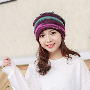 Women Stripe Hat Ruffle Cancer Hat Beanie Scarf Collar Turban Head Wrap Cap Muslim Ruffle Femme Musulman Cover Hair Loss Hats