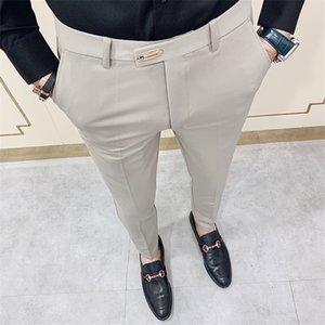 Casual Slim Fit Mens Dress Pants Streetwear Suit Pants Men 34 High Quality Gentlemen Office Trousers Men All Match ankle length Y1114