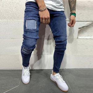 Fashion Men's Casual Personality Printing Slim Fit Denim Jeans Pants hommes jeans Skinny Biker Blue Trousers Streetwear Pant