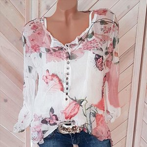 Plu Size Chiffon Blouse Women Casual Shirts Vintage Boho Floral Print Long Sleeve V Neck Blouses And Tops Button Holiday Blusas