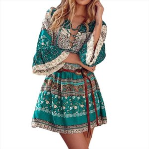 Bohemia Dress Women Floral Print Three Quarter Sleeve Boho Summer Dress Ladies Flare Sleeve Women Dresses
