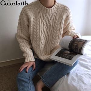 Colorfaith Otoño Invierno Sujetadores para mujer Sujetadores Cálido Minimalista Coreano Moda Casual Sólido Solido Jumpers SW7033 Y200910