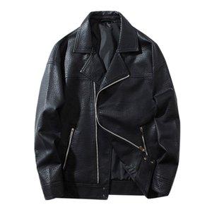 Men Leather Jacket Biker Motorcycle Zipper Casual Outwear Coat Faux Leather Doudoune Homme Fashion Chaqueta Moto Hombre E1