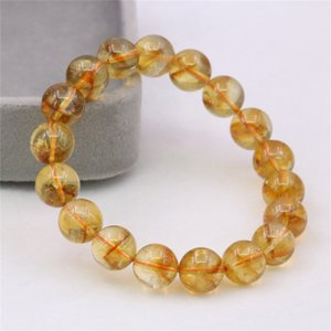 Romantic Natural Yellow Crystal Women's Yoga Jewelry 8 10mm Bracelet Bangle Round Beaded Bracelet Christmas Gift 7.5inch Y1051 B1205