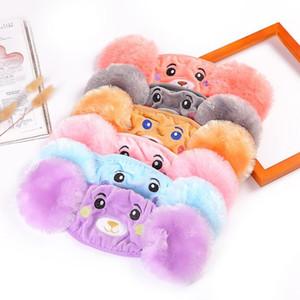 2 in 1 Bambino Cartoon Bear Face Mask Cover Plush Ear Protettivo Protezione Calda Calda Bambini Maschere Bocca Maschere Inverno Bocca-Muffle Earflap GWB3372
