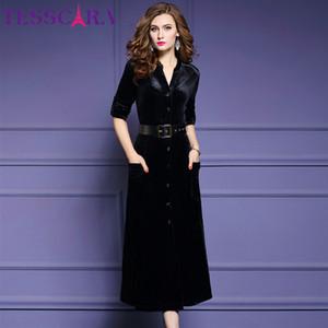 Tesscara mujeres otoño invierno elegante terciopelo vestido festa femenino de alta calidad oficina túnica femme moda diseñador vestidos s- lj201202