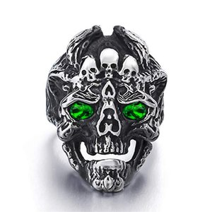 Demon Dragon Skull With Zircon Ring Men's Punk Titanium Steel Party Gift Jewelry R2208 Demon Dragon jllNPv