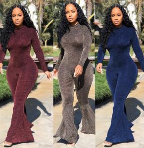 Çizgili Sequins Kadın Tulumlar Moda Bodysuit Bahar Sonbahar Uzun Kollu Seksi Ince Flare Tulum Combinison Femme