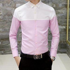 Color Block Neuf Arrivée Coton Mens Hommes Oxford Chemises occasionnelles Printemps 2019 À manches longues Mince Fit T-shirt Hommes Plus Taille 4XL1