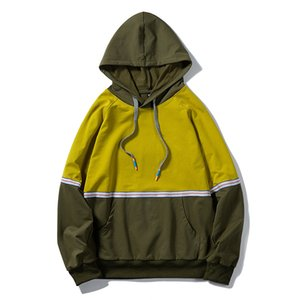 Men's Personality Color Matching Ribbon Stitching Hooded Cardigan Hoodies US Size Sports Top Streetwear Couples