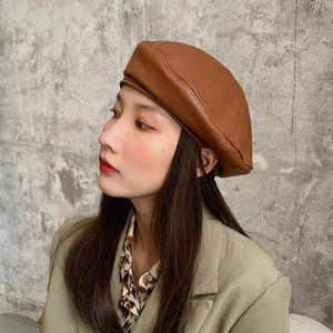 Petit chapeau d'automne et d'hiver femme chapeau ins marque de mode coréenne Joker rétro britannique béret en cuir PU japonais célébrité en ligne