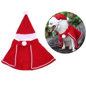 Animaux de Noël Costume chaud Chien Cap Chat Vêtements chiot Chapeau de Père Noël avec Cape mignon Home Decor chiens Fournitures JK2011XB