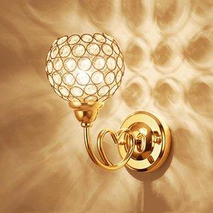 Modern Round Crystal Wall Light Creative Warm Romantic Single Double Head E27 Wall Lamp For Bedside Aisle Restaurant Bar Cafe