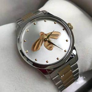 Ультра тонкие влюбленные пары стиль классические пчелиные узоры часы 38 мм 28 мм серебряный корпус мужские женские дизайнерские кварцевые часы наручные часы