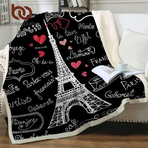 BeddingOutlet Paris Tower Throw Blanket on the Bed Romantic Letters Sherpa Fleece Blanket Heart Plush Sofa Plaid 1pc 201113