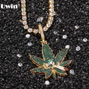 Cadenas Uwin Fashion Jewelry Iced Out Tabaco Hoja Colgante Collar Cubic Zirconia Bling Encantos Para Hombres Y Mujeres Hiphop Jewelry1