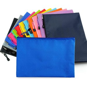 Mesh File Bag Waterproof Canvas Zipper Pencil Case Double-layer Material Office School Supply Stationery Bag Students Document Bags GWC5488