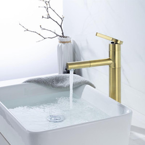 Brushed Gold Pull Out Basin Faucet Hot and Cold Water Wash BasinEuropean-Style Gold Faucet Brass Torneiras Monocomando
