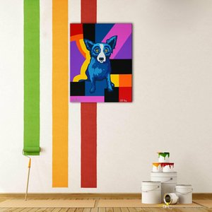 """Animal Art Blue Dog"" Framed Unframed Wohnkultur Handbemalte HD-Druck-Ölgemälde auf Leinwand-Wand-Kunst-Leinwandbilder ER109"