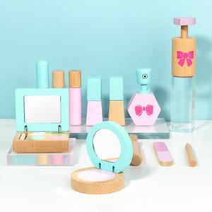 Hölzerner Make-up-Set Pretend Play Kind Makeup Spielzeug Prinzessin Friseur Simulation Spielzeug Mädchen Mädchen Kosmetik Spiel Haus Spielzeug Geschenke F1216