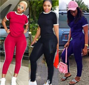 Летняя одежда Женщины Jogger Suit Двухструктура набор Черный трексуит спортивной футболки брюки спортивная одежда пуловерногинги спортивные одежды 1454