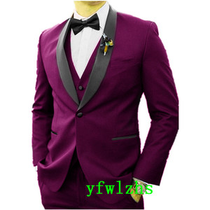 New Style One Button Handsome Shawl Lapel Groom Tuxedos Men Suits Wedding Prom Dinner Best Man Blazer(Jacket+Pants+Tie+Vest) W675