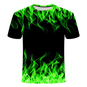 Blue Flaming tshirt Men Women t shirt 3d t-shirt Black Tee Casual Top Anime Camiseta Streatwear Short Sleeve Asian size Q1126