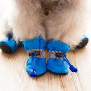 4pcs set Waterproof Winter Pet Dog Shoes Anti-slip Rain Snow Boots Footwear Thick Warm For Small Cats Puppy Dogs Socks Booties