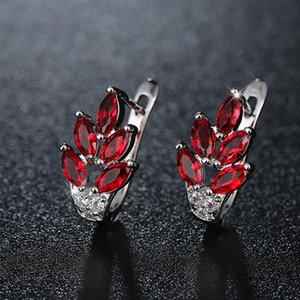 HUAMI Fine Jewelry Flower Earrings Stud Luxury Cubic Zirconia Earrings for Women Party Gifts Red Silver Color Wholesale