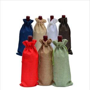 Bolsas de vino bolsa de vino de yute champagne cubiertas de botella de vino de regalo bolsa de embalaje bolsa de embalaje bolsas de boda decoración de la fiesta de regalo cordón DHB3222
