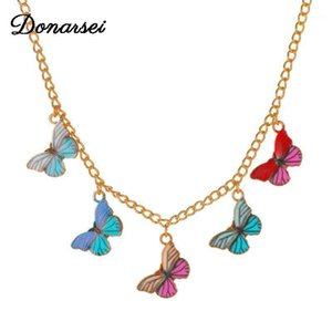 Donarsei moda colorido borboleta coradores colar para mulheres elegante animal borboleta clavícula cadeia boho jóias1
