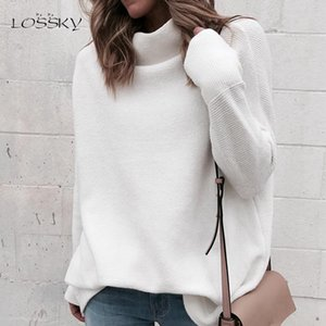 Lossky Long Sleeve Autumn Winter Sweater Women White Knitted Sweaters Pullover Jumper Fashion 2020 Turtleneck Sweater Female J1202