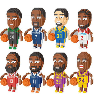 Pequeñas partículas deporte estrella jugador Building Blocks Puzzle Ensamble de juguete de regalo del jugador de baloncesto de la muñeca Modelo Niños