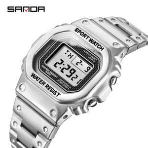 SANDA Top Brand Luxury Men's Watches LED Digital Watch Men 5ATM Casual Waterproof Wristwatch Steel Clock Relogio Masculino 390 201130