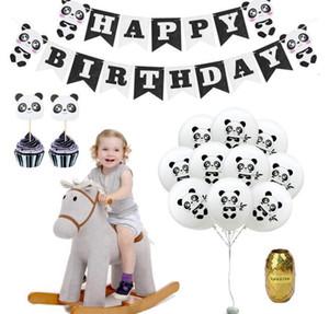 Mutlu Doğum Günü Balon Seti Panda Tema Partisi Dekorasyon Banner Kek Toppers ile Set Panda Baskılı Balon1